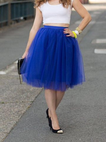 DaysCloth Blue Patchwork Grenadine Pleated Plus Size High Waisted Tutu Cute Homecoming Party Skirt