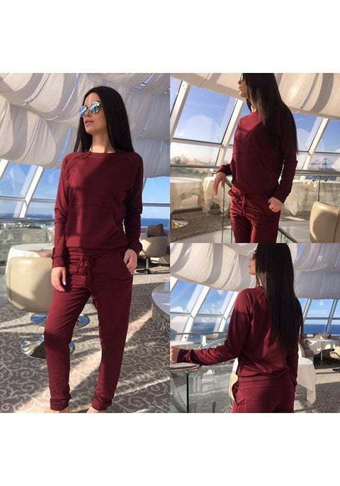 DaysCloth Red Plain Drawstring Pockets 2-in-1 Casual Long Jumpsuit