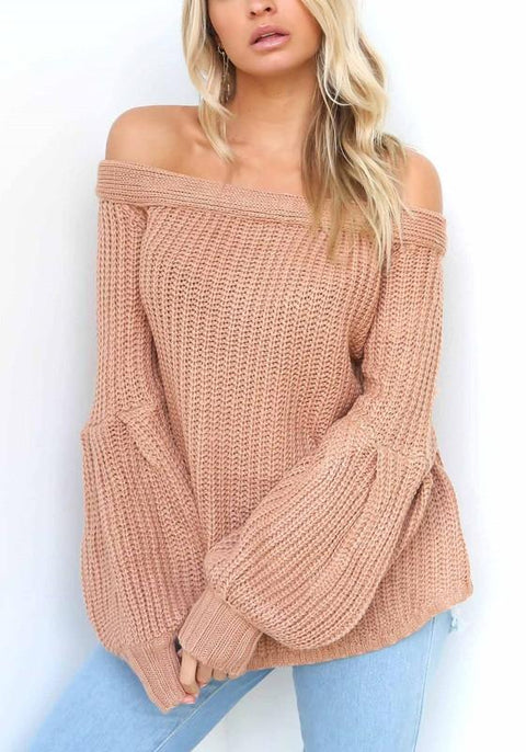 DaysCloth Pink Off Shoulder Knit Bell Sleeve Homecoming Party Fashion Pullovers