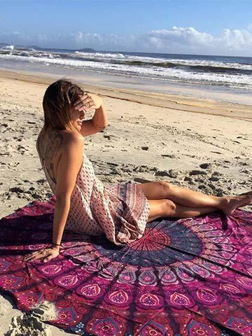Boho Chic Purple Roundie Beach Blanket