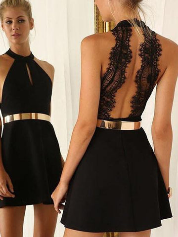 Black Halter Tied Open Back A-line Dress