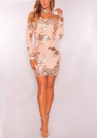 Rose Golden Floral Sequin Off Shoulder Long Sleeve New Year Party Mini Dress