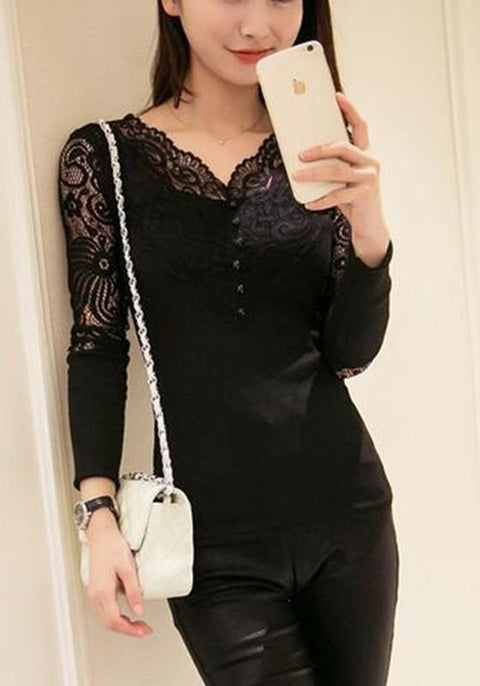 DaysCloth Black Patchwork Lace V-neck Long Sleeve Fashion T-Shirt