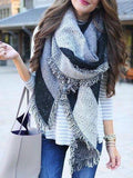 Soft Tassel Fall And Winter Warm Cashmere Black And White Plaid Scarf