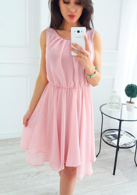 DaysCloth Pink Irregular Pleated Ruched Cute Sweet Homecoming Party Bohemian Midi Dress