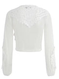 White Lace Up Front Long Sleeve Sheer Mesh Blouse