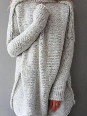 DaysCloth Gray High Neck Drop Shoulder Knit Sweater
