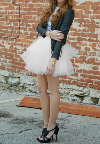 DaysCloth White Grenadine Pleated Fluffy Puffy Tulle Homecoming Party Sweet Skirt