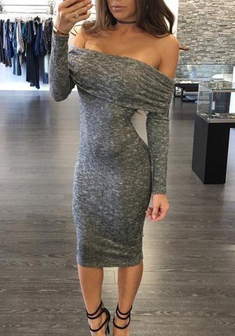 DaysCloth Grey Cut Out Tie Back Backless Off Shoulder Long Sleeve Midi Dress