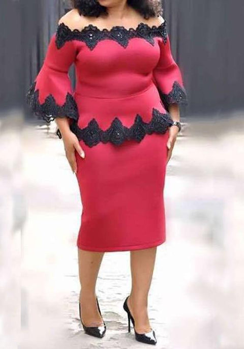 DaysCloth Red Lace Off Shoulder 3/4 Sleeve Bell Sleeve Peplum Midi Dress