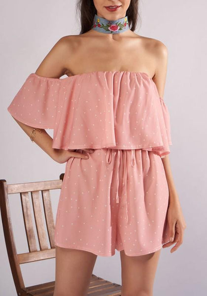 Pink Polka Dot Ruffle Drawstring Off Shoulder Backless One Piece Sweet Short Jumpsuit