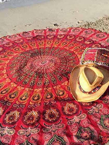 Beach Boho Red Round Beach Blanket