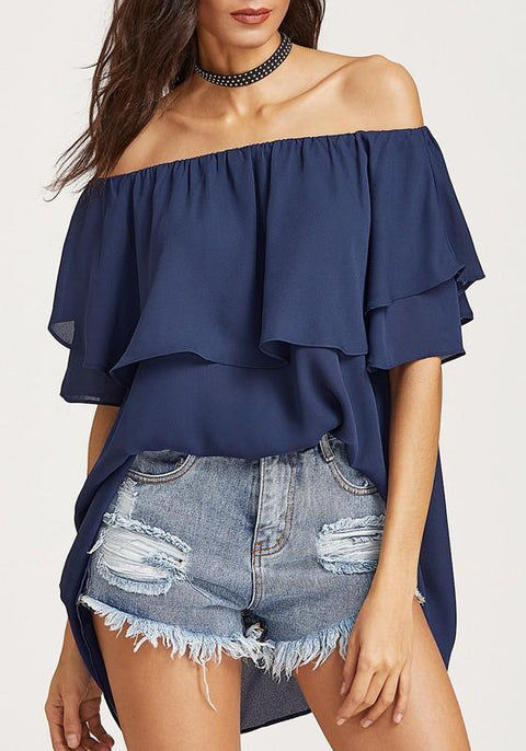 DaysCloth Dark Blue Ruffle Irregular Chiffon Off Shoulder Backless Going out Blouse