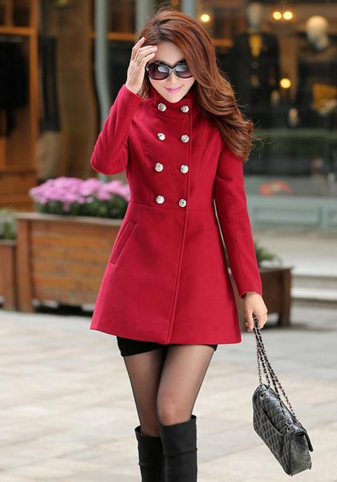 DaysCloth Red Pockets Buttons Double Breasted Long Sleeve Fashion Wool Coats
