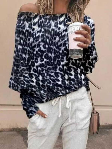 New Grey Leopard Print One-shoulder Long Sleeve Casual T-Shirt