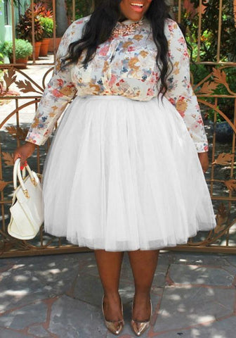 DaysCloth White Pleated Grenadine Puffy Tulle Plus Size Tutu High Waisted Party Skirt