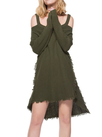 Army Green Cold Shoulder Dipped Hem Knit Dress