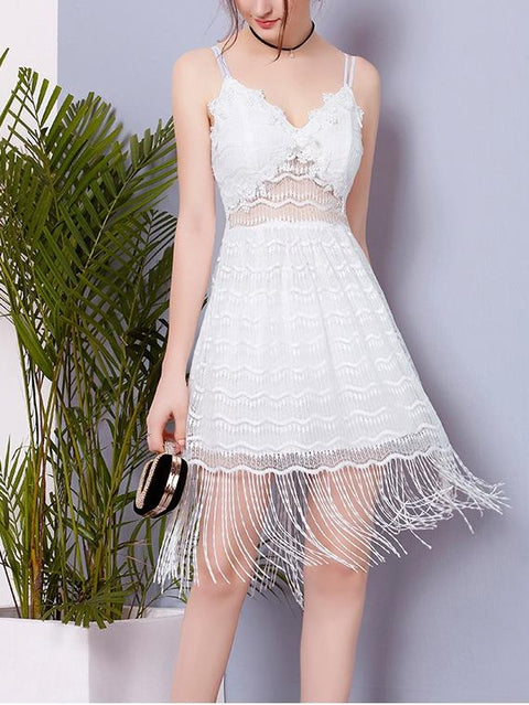 DaysCloth White Sheer Panel Tassel Hem Lace Dress