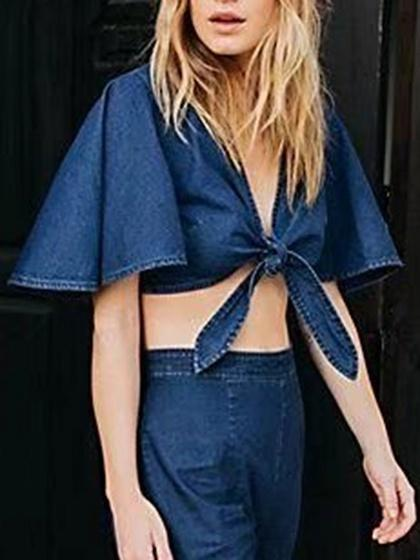 Blue Denim V-neck Tie Front Flare Sleeve Crop Blouse