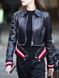 Black Leather Look Pointed Collar Zipper Contrast Trim Biker Jacket