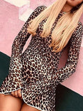 New Brown Leopard Print Round Neck Long Sleeve Streetwear Mini Dress