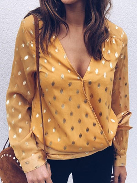 New Yellow Polka Dot Deep V-neck Going out Casual Blouse