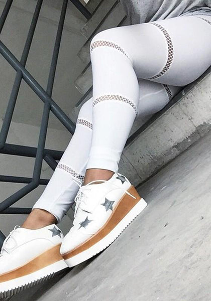White Patchwork Cut Out Grenadine High Waisted Yoga Sports Long Pants