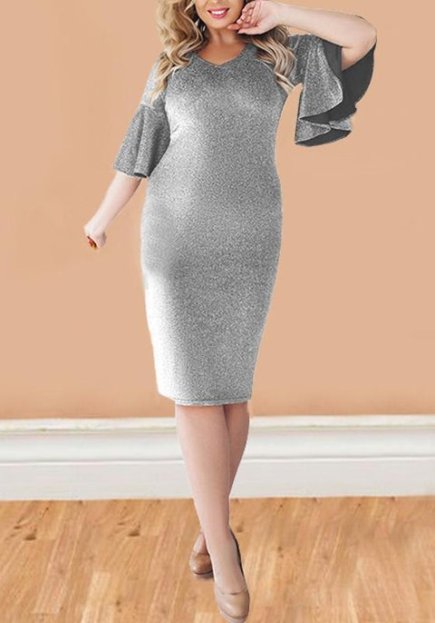 DaysCloth Silver Bright Wire Flare Sleeve Sparkly Plus Size Bodycon Elegant Party Midi Dress