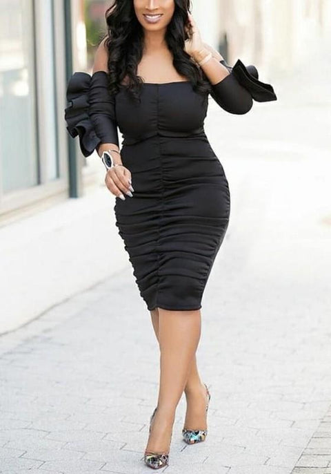 DaysCloth Black Ruffle Off Shoulder Plus Size Ruched Bodycon Elegant Party Midi Dress