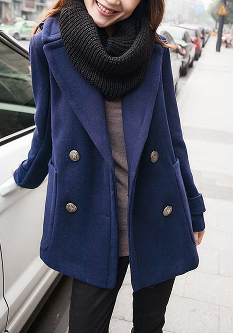 DaysCloth Blue Pockets Buttons Tailored Collar Long Sleeve Wool Coat