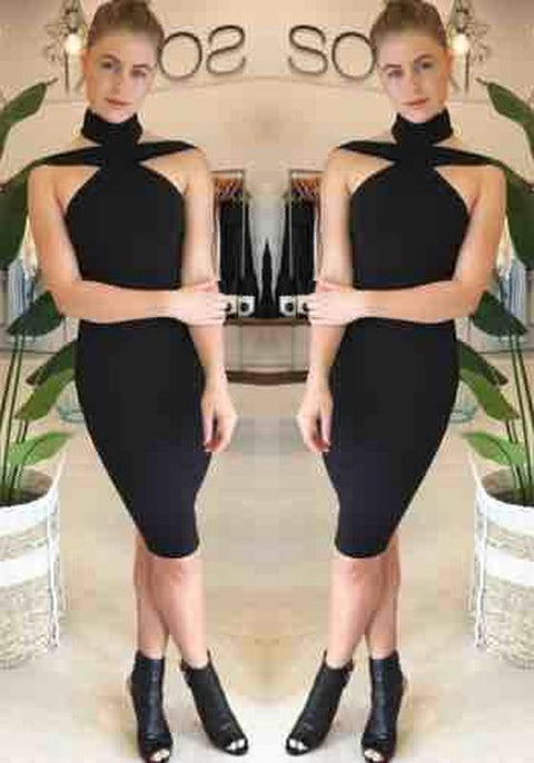DaysCloth Black Backless Cut Out Boat Neck Short Sleeve Midi Dress