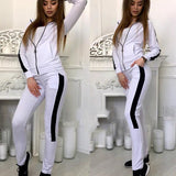 New White Striped Zipper Print Pockets 2-in-1 Waist Fashion Long Jumpsuit