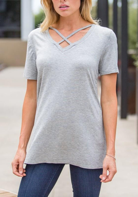 DaysCloth Grey Cross Cut Out V-neck Casual Going out T-Shirt