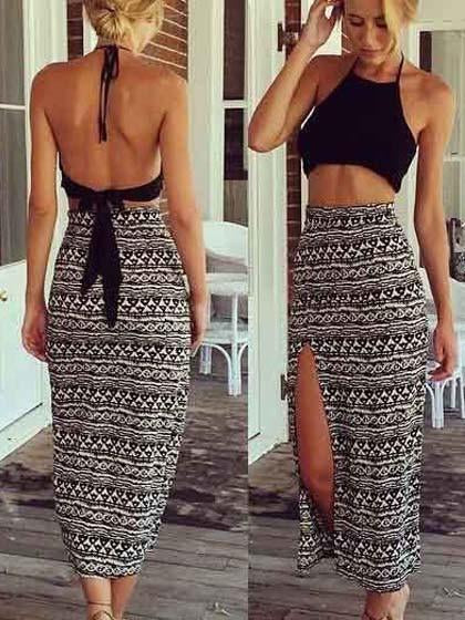 Fashion Boho Halter Top & Skirt