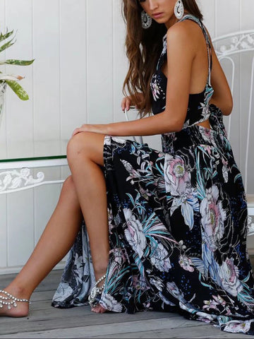 DaysCloth Black Floral Halter Stretch Waist Open Back Split Maxi Dress
