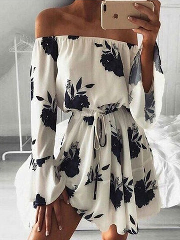 Black Floral Off Shoulder Tie Waist Flared Sleeve Mini Dress
