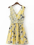 Yellow V Neck Floral Print Ruched Vest Skater Dress