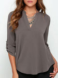 Simple Roll-up Cuff Deep V Neck Blouse