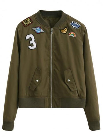 Army Green Patches Detail Zip Up Bomber Jacket