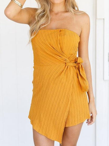 DaysCloth Yellow Bandeau Tie Waist Asymmetric Hem Romper Playsuit