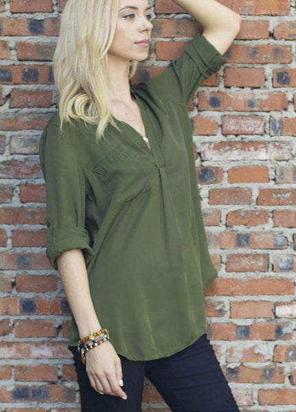 Simple Long Sleeve Army Green Shirt