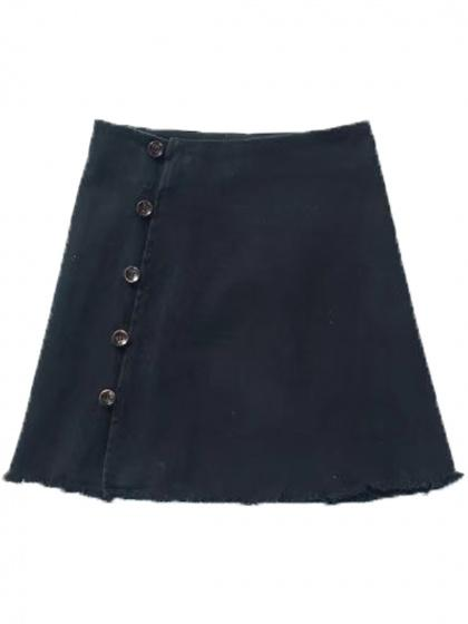 Black High Waist Button Side A-line Mini Skirt