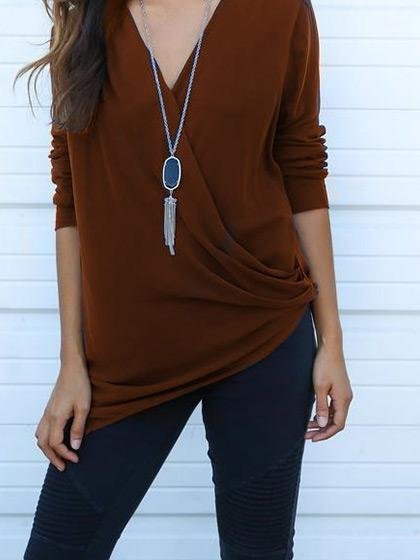 Stylish Long Sleeve Deep V Neck Solid Color Tee