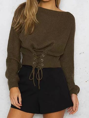 DaysCloth Casual Knit Round Neckline Army Green Sweater