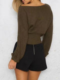 Casual Knit Round Neckline Army Green Sweater