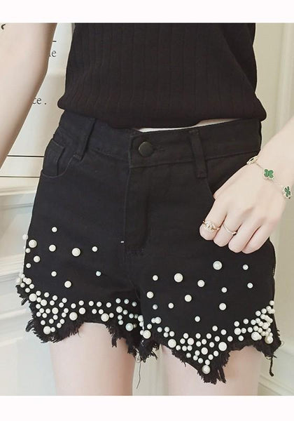 Black Pockets Pearl Zipper High Waisted Short Jeans