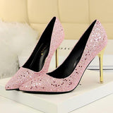 New Pink Point Toe Stiletto Sequin Fashion High-Heeled Shoes