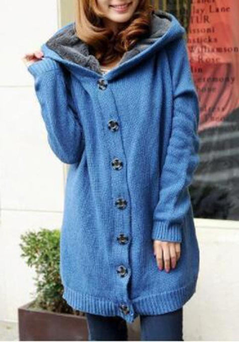 DaysCloth Blue Patchwork Single Breasted Long Sleeve Hooded Cardigan Sweater Coat