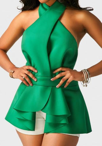 Green Pleated Irregular Lace-up Halter Neck Peplum Backless Sweet Going out Blouse