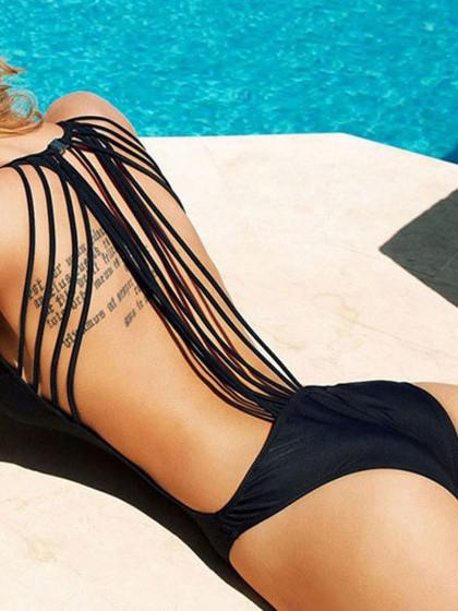 DaysCloth Black Side Cut Out Strappy Tie Back Swimsuit
